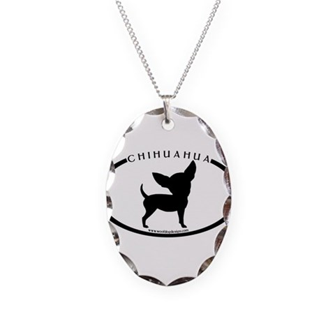 Funny Chihuahua w/text  Funny Necklace Oval Charm by CafePress