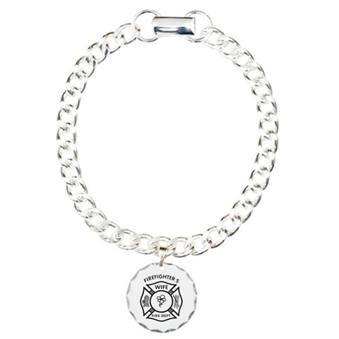 Firefighters Wife  Humor Charm Bracelet, One Charm by CafePress