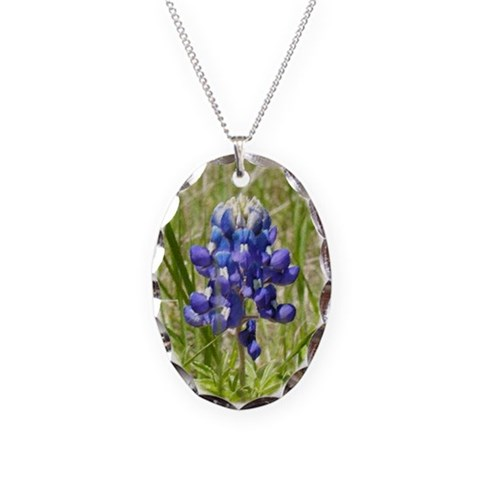 Bluebonnet  Texas Necklace Oval Charm by CafePress