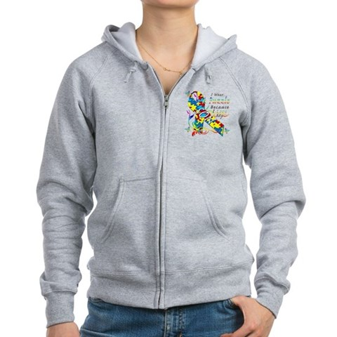 I Wear A Puzzle Because I Love My Son Women's Zip Autism Women's Zip Hoodie by CafePress
