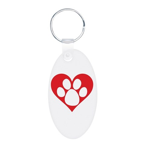 Heart Dog Paw  Pets Aluminum Oval Keychain by CafePress