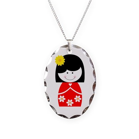 Asian Princess  Family Necklace Oval Charm by CafePress