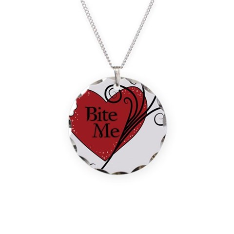 Bite Me Vampire Heart  Gothic Necklace Circle Charm by CafePress