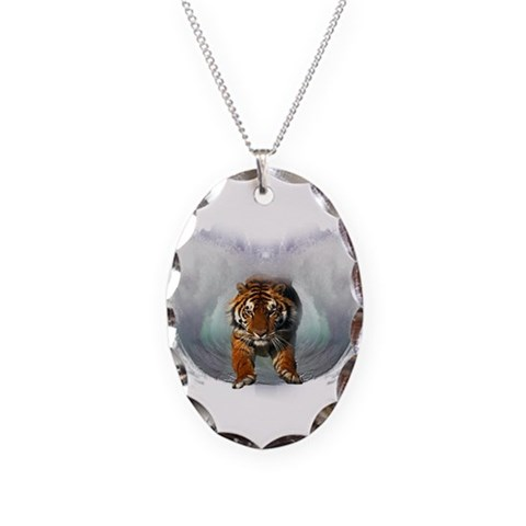 Leaping Tiger  Tiger Necklace Oval Charm by CafePress