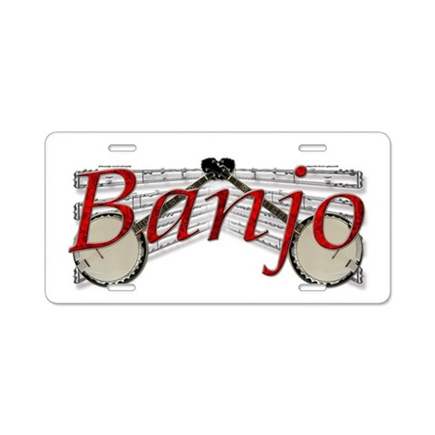 Banjo  Music Aluminum License Plate by CafePress