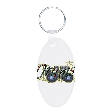 Drums  Music Aluminum Oval Keychain by CafePress