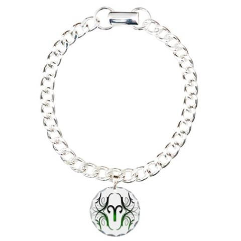 Aries Green 1  Cancer Charm Bracelet, One Charm by CafePress