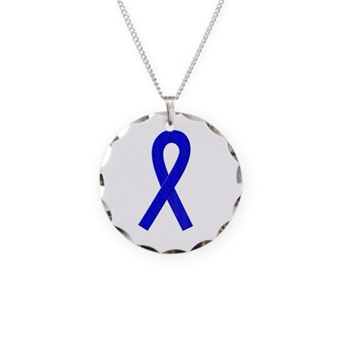 Blue Ribbon  Health Necklace Circle Charm by CafePress