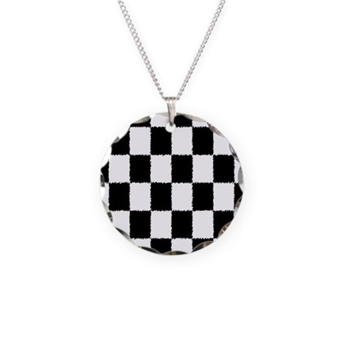 Checkered Flag  Sports Necklace Circle Charm by CafePress
