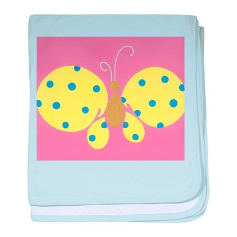 Yellow Butterfly  Butterfly baby blanket by CafePress