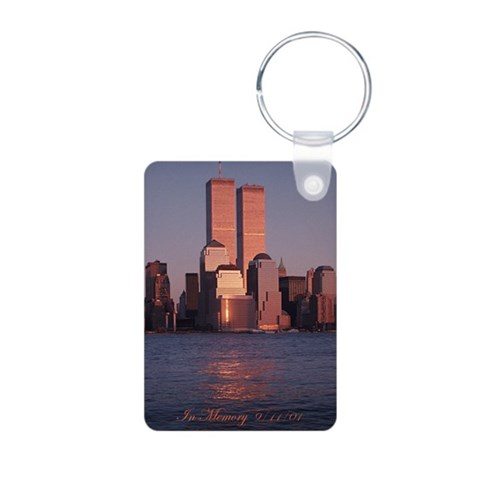 9/11 Tribute Keychain - aluminum, very nice. Photography Aluminum Photo Keychain by CafePress