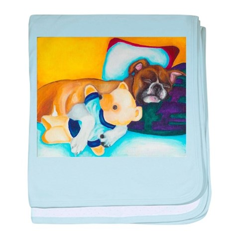 Boxer and Teddy  Dog baby blanket by CafePress