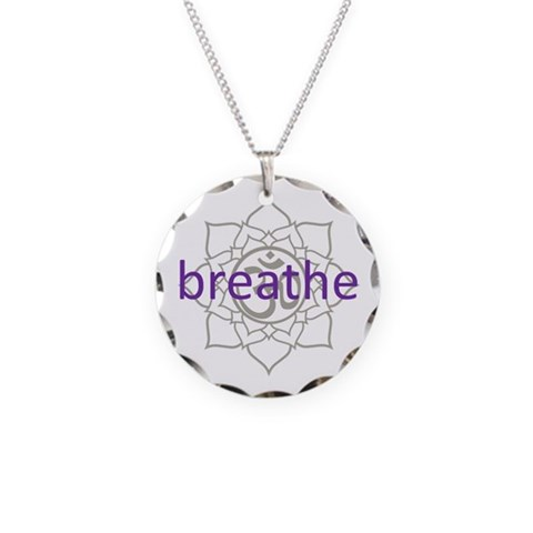 breathe Om Lotus Blossom  Health Necklace Circle Charm by CafePress