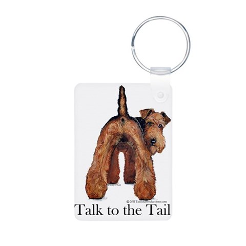 Airedale Talk to the Tail  Pets Aluminum Photo Keychain by CafePress