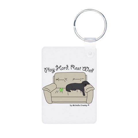 Black Lab - Play Hard  Pets Aluminum Photo Keychain by CafePress
