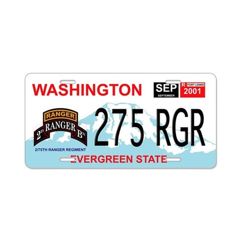 2/75 RGR Washington License Plate Military Aluminum License Plate by CafePress