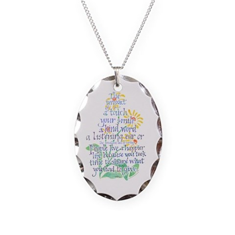 Impact of a Touch -  Teacher Necklace Oval Charm by CafePress