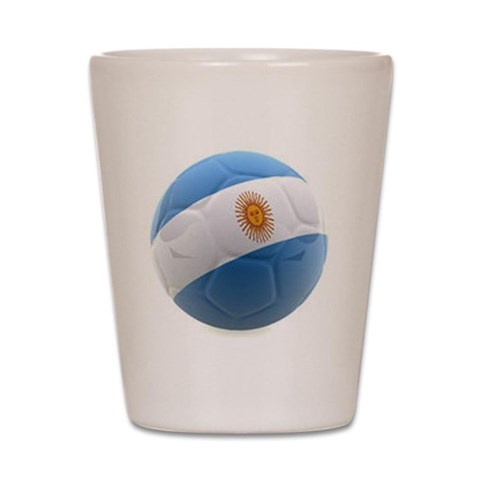 Argentina World Cup Ball  Sports Shot Glass by CafePress