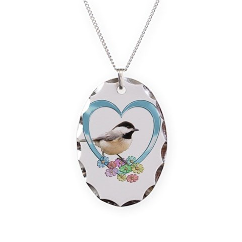 Chickadee in Heart  Nature Necklace Oval Charm by CafePress