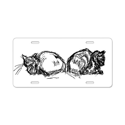 Back-to-Back Cat -  Pets Aluminum License Plate by CafePress