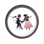 Fancy Dance Cats Wall Clock
