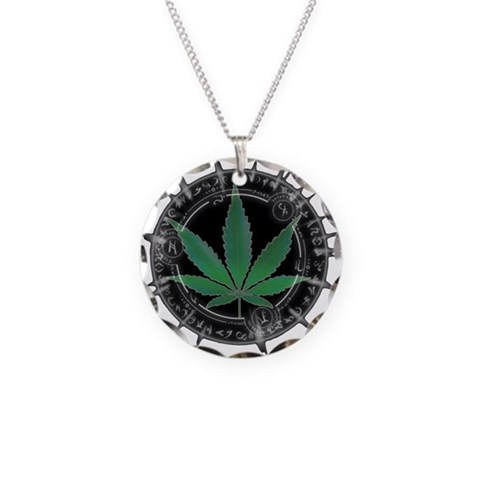 - Weed Leaf Health Necklace Circle Charm by CafePress