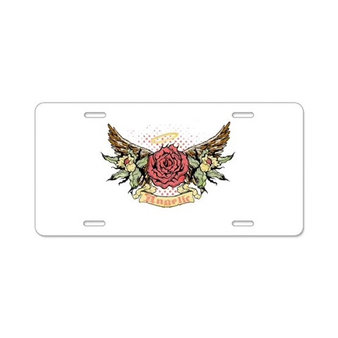 Angelic Winged Rose  Halo Aluminum License Plate by CafePress