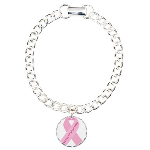 Awareness Ribbon  Breast cancer Charm Bracelet, One Charm by CafePress