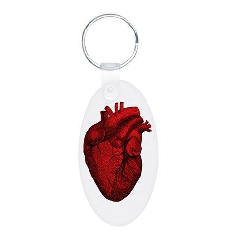 Anatomical Human Heart  Medical Aluminum Oval Keychain by CafePress
