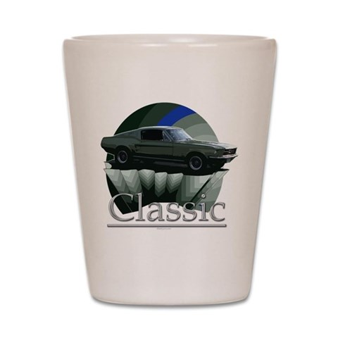 67 Mustang  Vintage Shot Glass by CafePress