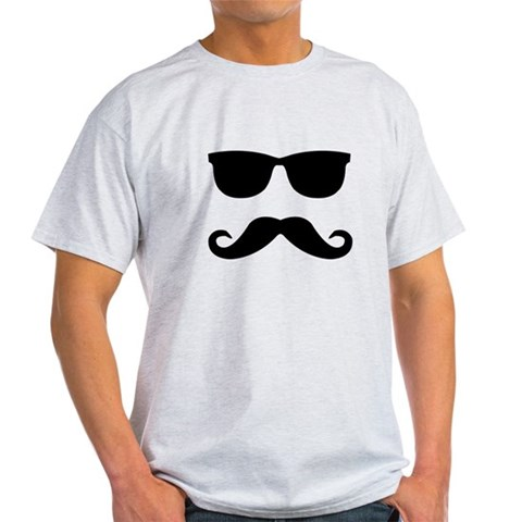 glasses and mustache Humor Light T-Shirt by CafePress