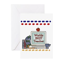 World's Best Teacher Greeting Cards (Package of 6)