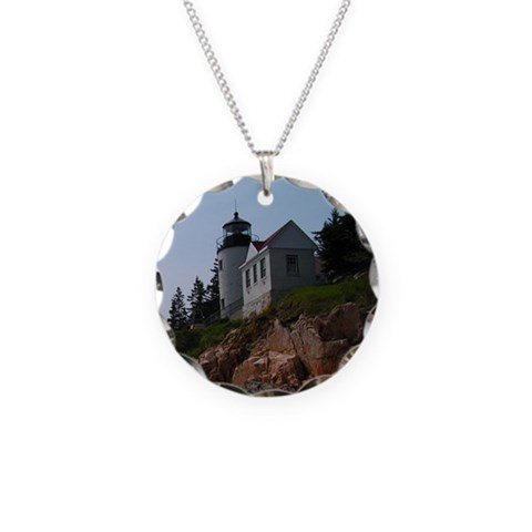 Bass Harbor  Lighthouse Necklace Circle Charm by CafePress