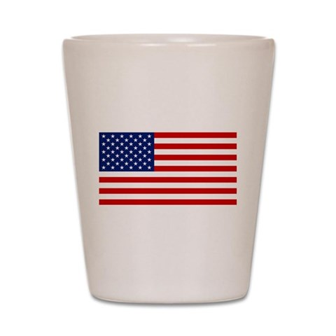 American Flag  Hobbies Shot Glass by CafePress