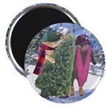Two Cats with Christmas Tree Round Magnet