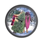 Two Cats with Christmas Tree Wall Clock