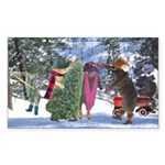 Cats Getting Christmas Tree Sticker (Rectangular)