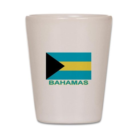 Bahamian Flag labeled  Flag Shot Glass by CafePress