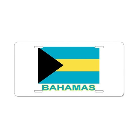 Bahamian Flag labeled  Flag Aluminum License Plate by CafePress
