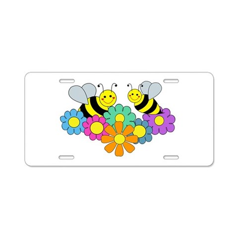 Bees  Flowers  Flowers Aluminum License Plate by CafePress