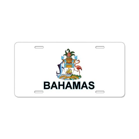 Bahamian Arms labeled  Flag Aluminum License Plate by CafePress