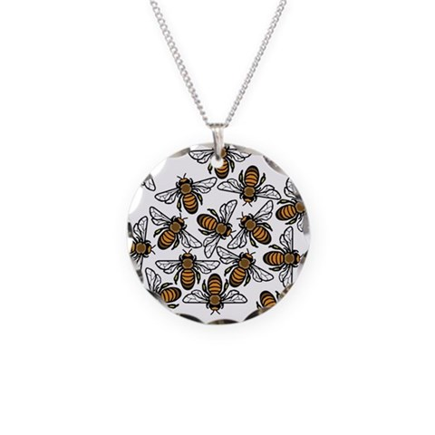 Bee Gathering  Art Necklace Circle Charm by CafePress