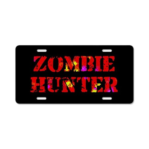Zombie Hunter  Fantasy Aluminum License Plate by CafePress