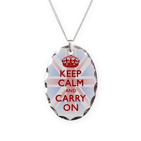 Keep Calm and Carry On  Union jack Necklace Oval Charm by CafePress