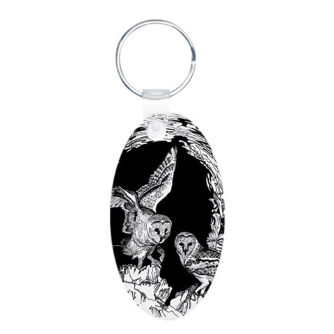 Gothic Owls  Art Aluminum Oval Keychain by CafePress