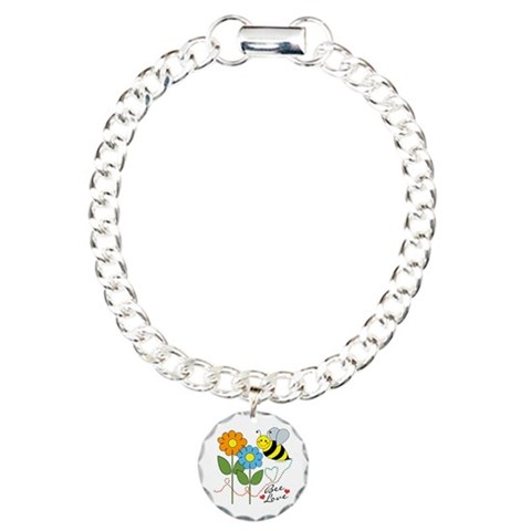 Bee Love  Colorful Charm Bracelet, One Charm by CafePress