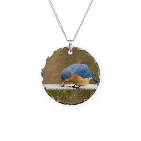 Bluebird  Cute Necklace Circle Charm by CafePress
