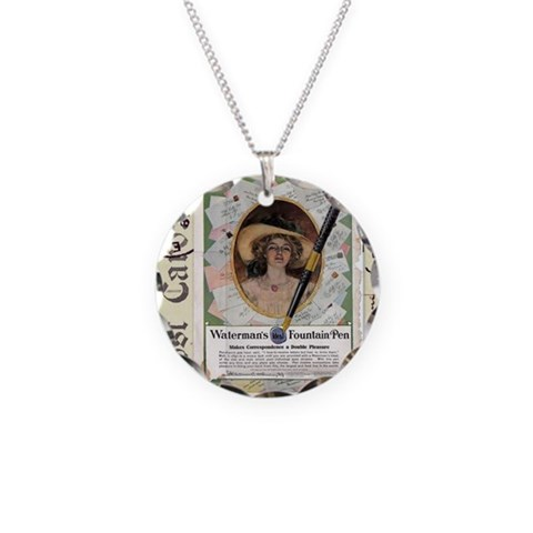 1909 Waterman's Pen Ad  Vintage Necklace Circle Charm by CafePress