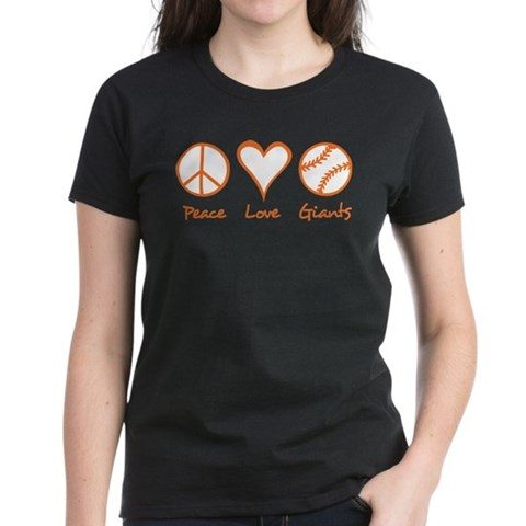Product Image of Peace, Love, Giants Women's Dark T-Shirt