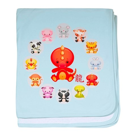Cute Year of The dragon 2012  Animals baby blanket by CafePress